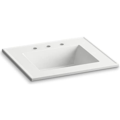 KOHLER K-2777-8-G81 Ceramic/Impressions 25-Inch Rectangular Vanity-Top Bathroom Sink with 8-Inch Centerset Faucet Holes, White Impressions