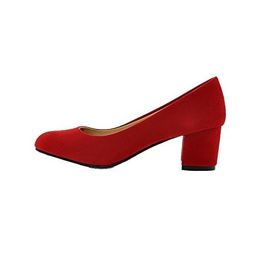 VogueZone009 Damen Rein Mattglasbirne Mittler Absatz Ziehen auf Rund Zehe Pumps Schuhe Rot