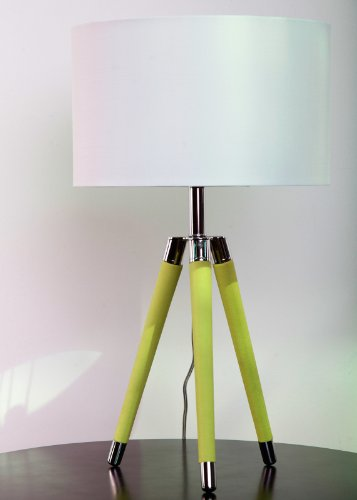 Urbanest Green Mid Century Modern Tripod Leather & Chrome Table Lamp with Drum Hardback Shade