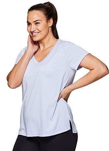 RBX Active Women's Plus Size Heathered Mesh Yoga Workout T-Shirt Mesh Purple 1X