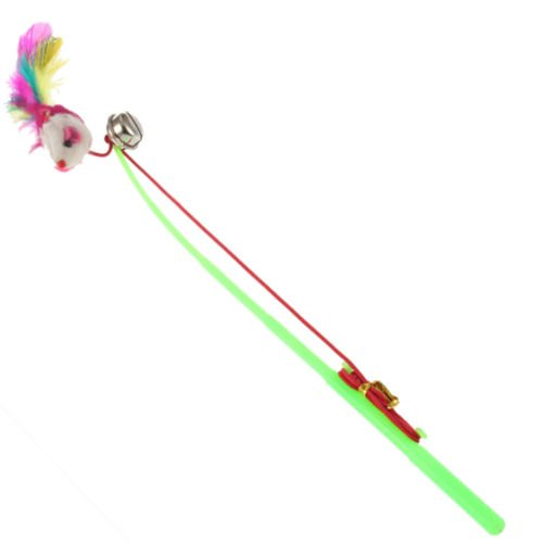 MoeWoods(TM) For Pet Cat Bell The Dangle Faux Mouse Rod