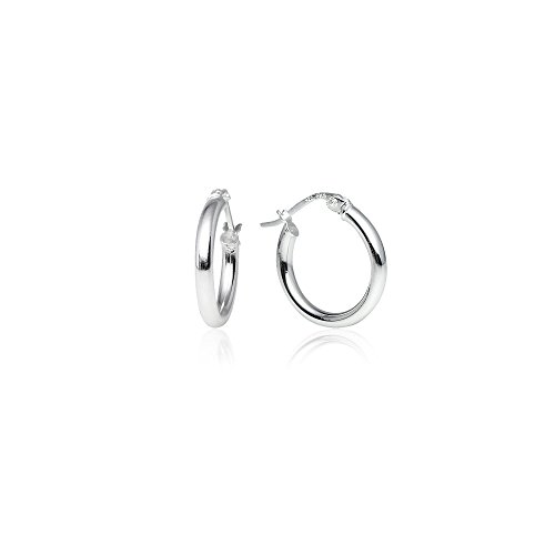 LOVVE Sterling Silver High Polished Round-Tube Click-Top Hoop Earrings, 2x15mm (Two High Polished Metal)