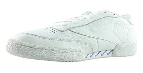 Reebok Mens Club C 85 Sneaker Di Moda Bianco / Grigio Chiaro Chiaro / Blu Vitale / Rosso Primitivo / Nero