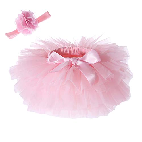 Baby Girls Tutu Skirt Headband Set Newborn Toddler Ruffle Tulle Diaper Covers 6-24 Months Pink]()