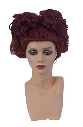 Womens Short Deep Red Curly Wig Halloween Costume Party Cosplay Wig -