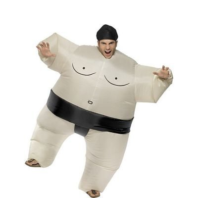 Smiffys Sumo Wrestler Costume Inflatable Bodysuit with Headpiece]()