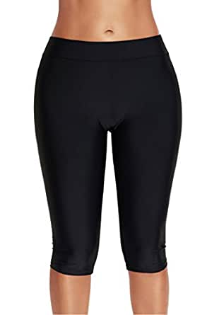 Akaeys Women Knee Length Swim Shorts Leggings Sun Protection Rash Guard Pants Sports Crop Swim Tights Tankini Bottom, Black, M
