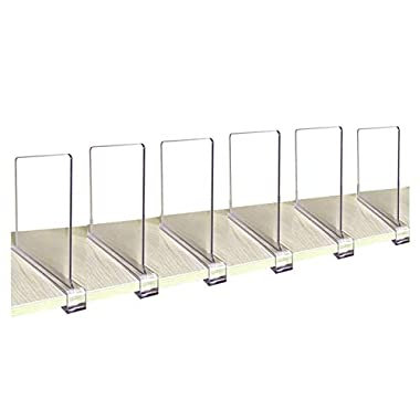CY craft Acrylic Shelf Divider, Wood Shelf Dividers,Clear Closet Shelf Separators Clothing Organizer Perfect for Bedroom Shelving Organization and Kitchen Cabinet Shelf Storage,6 PCS