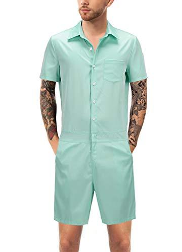 URVIP Men One Piece Jumpsuit Short Sleeve Pants Rompers Overalls Shorts DXLT807007 XXL ()