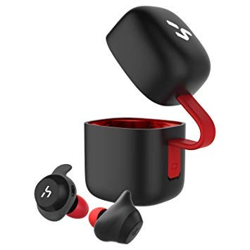 HAVIT Bluetooth イヤホン 完全ワイヤレスイヤホン「Bluetooth 5.0 」TWSイヤホンスポーツイヤホン PSE認証済/技適認証済/MSDS認証済取得済み AAC対応/Siri対応/IPX5防水規格/18時間連続再生/高音質チタンドライバー搭載 片耳両耳とも対応 自動ペアリング自動ON/OFF スポーツ、日常用 充電収納ケース付 左右分離型 マイク内蔵 G1黒+赤 B07QZ118J1