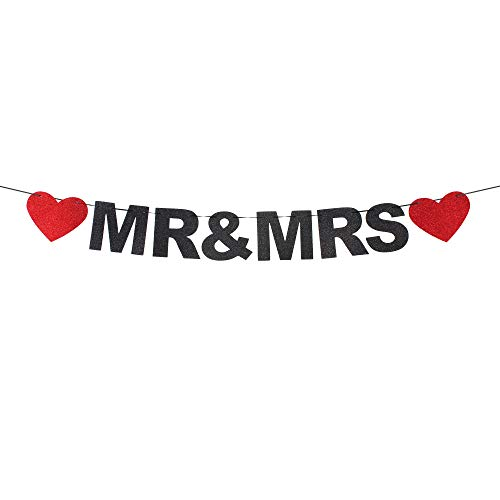 Mr & Mrs Red Heart Black Glitter Banner Heart-Shaped Detail,Bachelorette,Bridal Shower,Engagement,Wedding Shower Party Photo Props. -