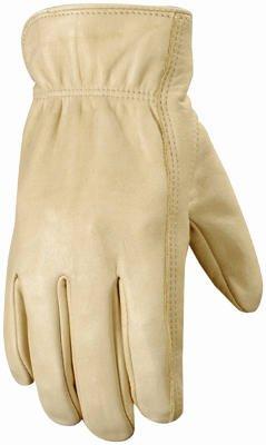 Wells Lamont 1130 Work Gloves with Grain Palomino Cowhide, Keystone Thumb, Self-Hem, Palm Patch