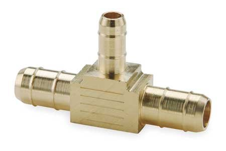 John Guest Barb Connector - Parker 224-8-8-6 Union Tee, 0.375 x 0.25 in, Barbed, Brass
