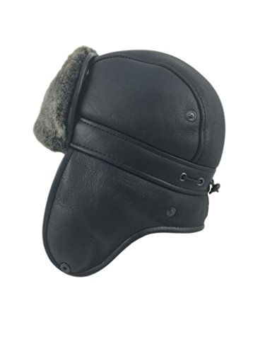 Sheepskin Cap - Zavelio Men's Shearling Sheepskin Aviator Russian Ushanka with Snap Hat Medium Black