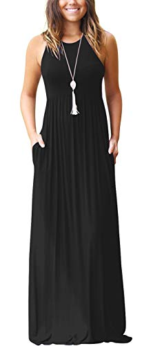 GRECERELLE Women's Round Neck Sleeveless A-line Casual Maxi Dresses with Pockets Black-2XL