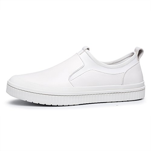 Slip Leather White On Shoes Genuine Toe Casual Men's ZRO Round Fq0Zff