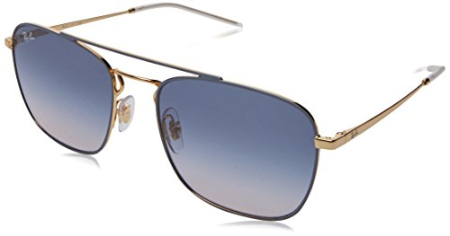 Ray-Ban Men's Metal Man Square Sunglasses, Gold on Top Light Grey, 55 - Flat Top Ray Ban
