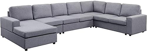 BOWERY HILL Gray Linen 7 Seat Reversible Modular Sectional Sofa Chaise