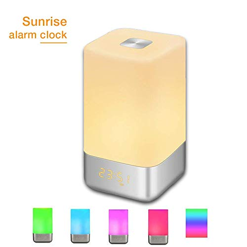 GLIME Wake Up Light Alarm Clock Touch Control Beside Lamp with Sunrise...