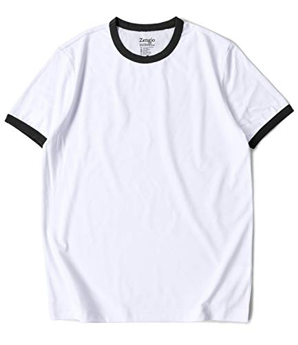 Zengjo Mens Athletic Shirts Ringer Tee Short Sleeve Crew Neck T Shirt (M, White/Black)