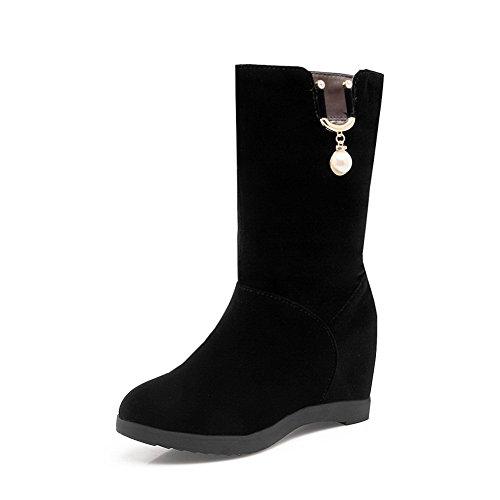 BalaMasa Womens Mid-Calf Heighten Inside Beaded Suede Boots ABL10571 Black QpieNG