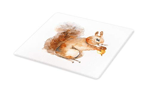 (Ambesonne Squirrel Cutting Board, Watercolor Style of a Woodland Rodent Animal Holding a Hazelnut, Decorative Tempered Glass Cutting and Serving Board, Large Size, Brown Peach and White)