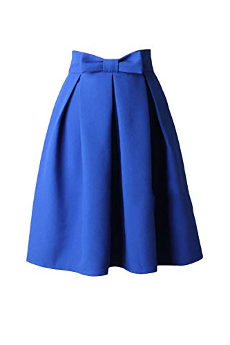 Fasumava Femmes Jupes Printemps Automne lgant Taille Haute Bowknot Jupe Patineuse Royal