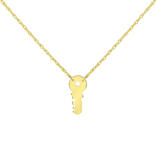 14k Yellow Gold Mini Key Necklace with Spring Ring Clasp (16