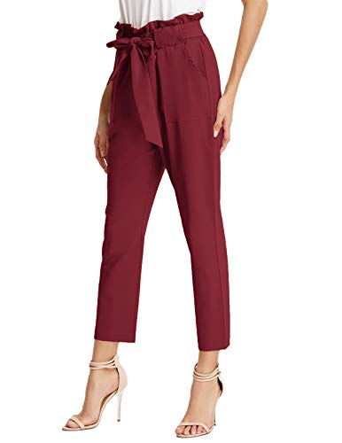 GRACE KARIN Women's Pants Trouser Slim Casual Cropped Paper Bag Waist Pants with Pockets (Medium, Wine)