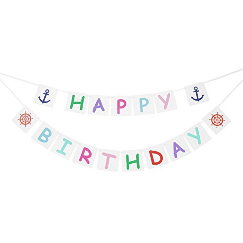 Nautical HAPPY BIRTHDAY Banner Bunting Garland - Anchor Theme Birthday Party Decorations - Nautical Decor Party Supplies