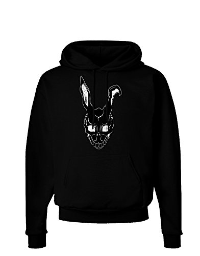 TooLoud Scary Bunny Face Black Distressed Dark Hoodie Sweatshirt - Black - (Donnie Darko Outfit)