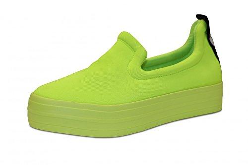Sportliche Schuhe Damen Low Sneakers Plateau Turnschuhe Sportschuhe Freizeischuhe Bequeme Schuhe mit Love Fluorescent Yellow