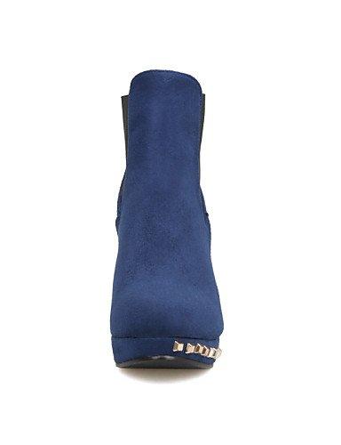 XZZ  Damenschuhe - Stiefel - Kleid Kleid Kleid   Lässig - Vlies - Stöckelabsatz - Stifelette   Rundeschuh   Modische Stiefel - Schwarz   Marineblau B01L1GQ8GG Sport- & Outdoorschuhe Kostengünstig 03dedc