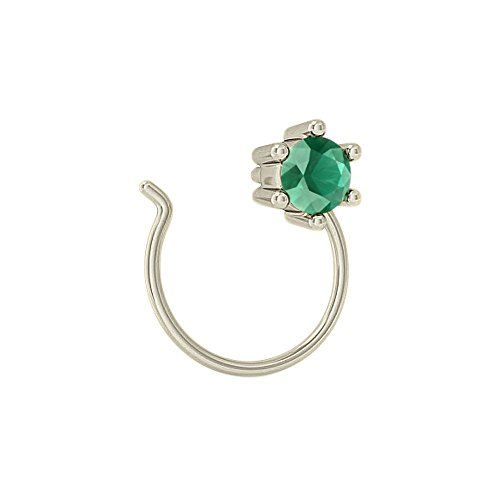 Emerald Gemstone Nose Pin Jewelry 925 Sterling Silver Gemstone Women's Jewelry by Jaipur Handmade Jewelry