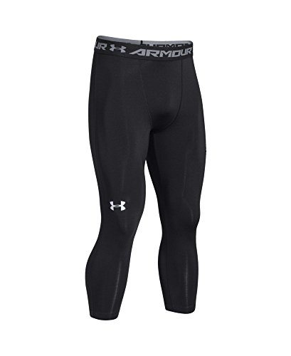 Under Armour Men's HeatGear Armour ¾ Compression Leggings, Black /White, Large by Under Armour (Image #3)