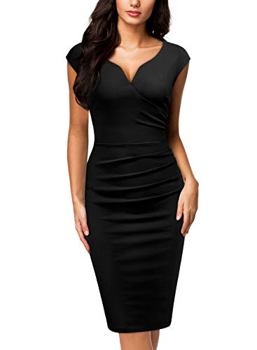 Miusol Women's V-Neck Sleeveless Vintage Slim Style Business Pencil Dress (Large, C-Black)