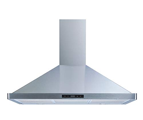 Winflo 36 Wall Mount Stainless Steel Convertible Kitchen Range Hood with 450 CFM Air Flow, Touch Control, Aluminum Grease Filters and LED Lights