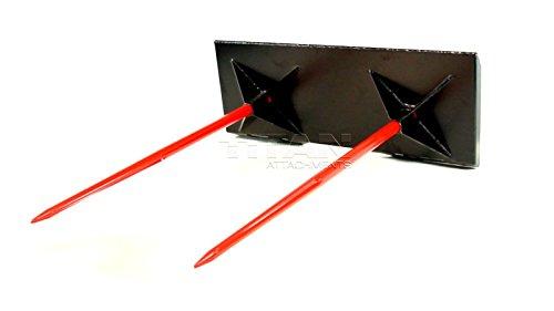 Skid Steer Bale Spear - Titan Attachments Skidsteer Dual Hay Spear bale spike skid steer case kubota 3,000 capacity