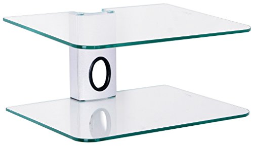 Gold Line 2 x Silver Floating Shelves with Strengthened Tempered Clear Glass for DVD Players/Cable Boxes/Games Consoles/TV Accessories - Glass Shelves Electronic