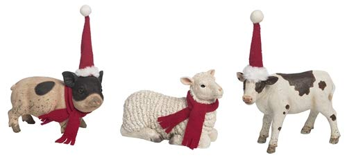 Transpac Imports, Inc. Baby Farm Animal Natural 8 x 5 Resin Stone Christmas Holiday Figurines Set of 3 by Transpac Imports, Inc.