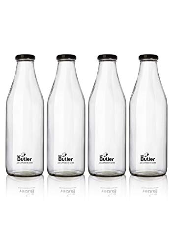 Mr. Butler Water, Milk, Juice Glass Bottle 1000ml – 4 Pack, with Extra caps Price & Reviews