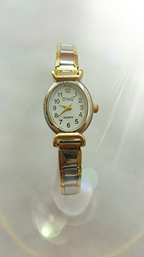 Oval Gold Edge White Face Italian Charm Bracelet Watch (Oval Italian Charm Watch)