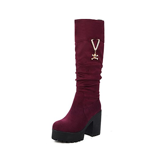 AmoonyFashion Womens High-top Solid Pull-on Round Closed Toe High-Heels Boots with Charms Claret SGlAXfaYpC