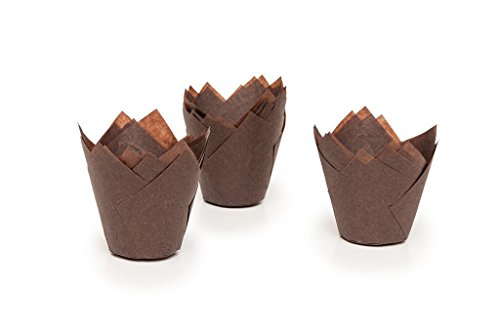 Tulip Cupcake Liner Brown Paper Baking Cups Easy Release Muffin Molds / No need To Spray Cups Perfect For Baking Muffins and Cupcakes 715050B/2 (15015050mm) (24)Medium