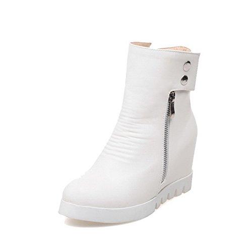 Støvler Solid top Glidelås Hæler Høye Hvite Kvinners Lav Pu Allhqfashion UnPOX