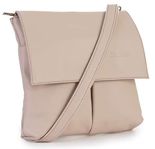 LIATALIA Womens Cross-Body Handbag - 100% Real Soft Italian Leather - Crossbody Messenger Shoulder Bag - HAZEL [Pale - Handbag Pink Italian