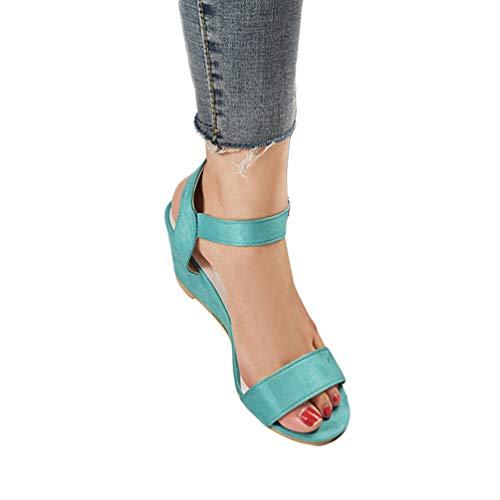 Boucle Sandale Sandals Peep Talons Vert Talon Compensee Toe Zkooo Casual Été Hauts Femme Confortable Ete 5ZPxHCwvq