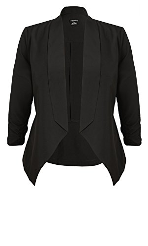Designer Plus Size JKT BLAZER FOLD FRNT - Black - 22 / XL | City Chic