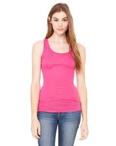 Ladies' Sheer Rib Longer Length Racerback Tank Top, Color: Berry, Size: - Rib Ladies Tank Sheer