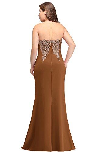 Karamel Abendkleid Rückenfrei Übergröße Ärmellos Misshow Plus Meerjungfrau Spitze Stretch Figurbetont Size wvxqFzUqp